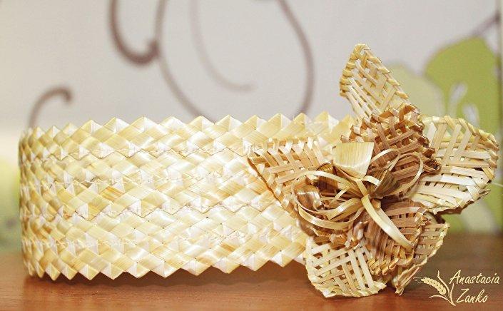 Кокошник из соломки - белорусское плетение из соломы