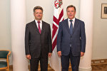 Встреча премьер-министра Латвии Мариса Кучинскиса с министром транспорта Российской Федерации Максимом Соколовым