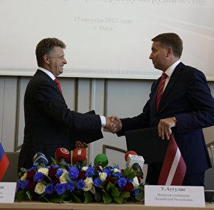 Latvijas satiksmes ministra Ulda Auguļa un Krievijas transporta ministra Maksima Sokolova tikšanās