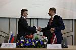 Встреча министра транспорта РФ Максима Соколова и министра сообщения Латвийской Республики Улдиса Аугулиса