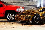 Имитация аварии игрушечными автомобилями
