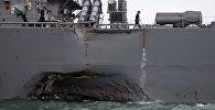 Эсминец ВМС США Джон Маккейн после столкновения с торговым судном, 21 августа 2017