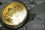 Криптовалюта биткоин, сувенирная монета