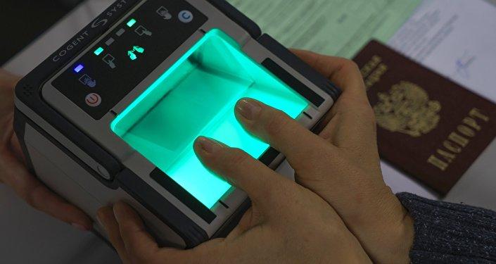 Biometriskas kontroles ierīce. Foto no arhīva