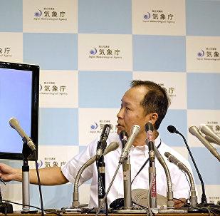 Japāņu meteorologs preses konferences laikā Tokijā. 2017. gada 3. septembrī.