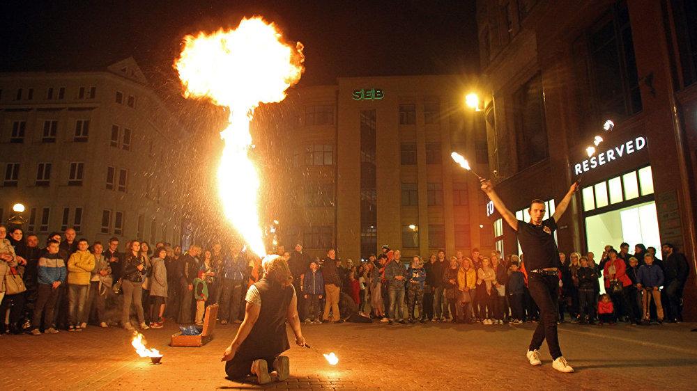 Огненное шоу в Старой Риге