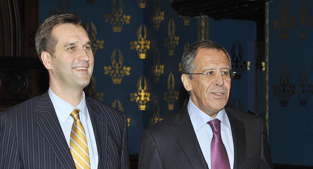 Посол Латвии Марис Риекстиньш и министр иностранных дел России Сергей Лавров, архивное фото