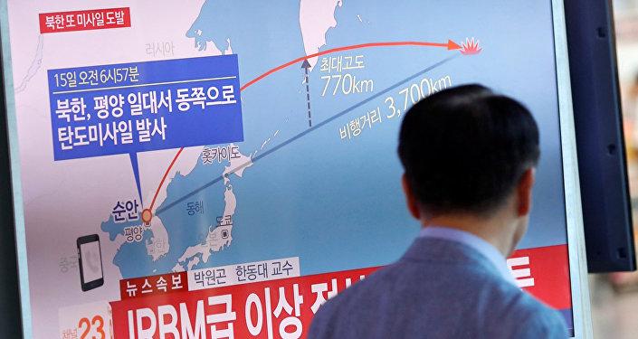 Ziņas par kārtējo ballistiskās raķetes startu KTDR tiek translētas televīzijā