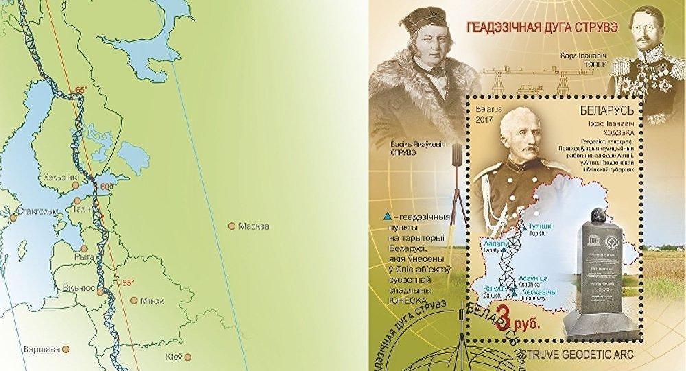 Геодезическая дуга Струве на белорусских марках