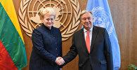 Lietuvas prezidente Daļa Gribauskaite un ANO Ģenerālais sekretārs Antoniu Gutērrešs