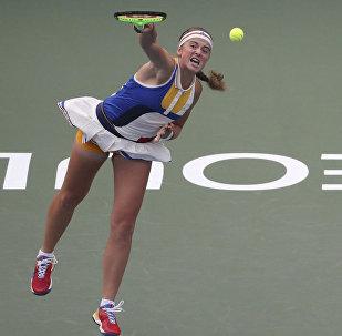 Елены Остапенко во время первого раунда матча Открытого чемпионата Кореи по теннису в Сеуле, Южная Корея