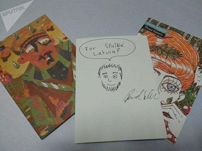 Автограф и рисунок Давида Шилтера для Sputnik Латвия