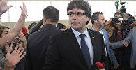 Глава правительства Каталонии Карлес Пучдемон на референдуме о независимости Каталонии, Испания, архивное фото