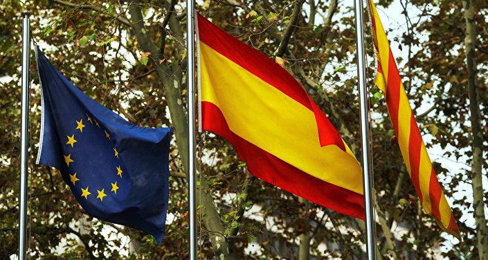 ES, Spānijas un Katalonijas karogi