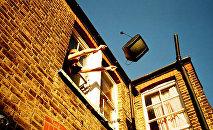 Мужчина выбрасывает ТВ из окна дома