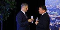 Krievijas dzelzceļu prezidents Oļegs Belozerovs un LDz prezidents Edvīns Bērziņš