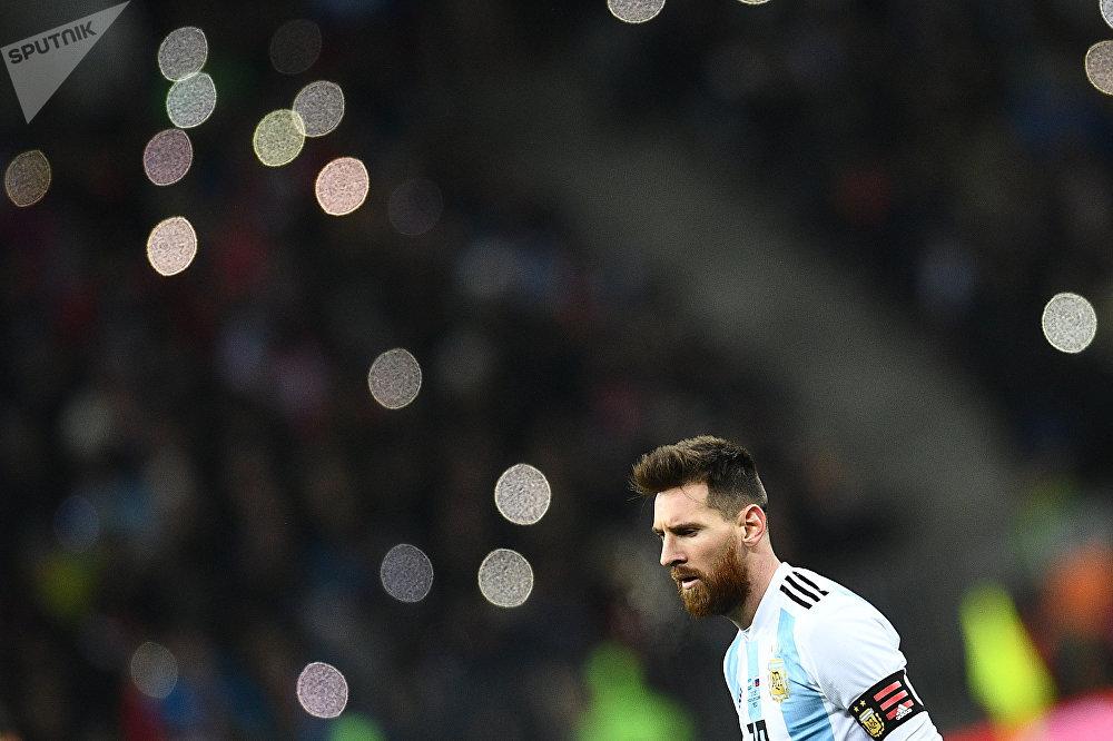Лионель Месси (Аргентина) во время товарищеского матча по футболу между сборными России и Аргентины