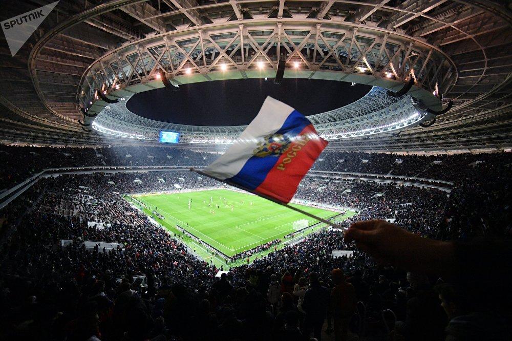 Болельщик на трибуне стадиона Лужники машет флагом во время товарищеского матча между сборными командами России и Аргентины