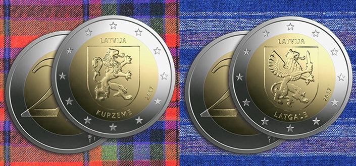 Latvijas Banka выпускает памятные монеты в 2 евро, предназначенные для Курземе и Латгалии