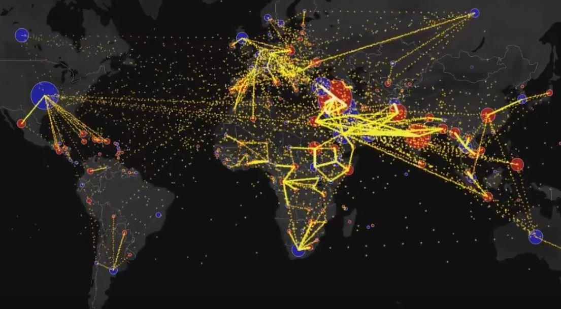 Карта миграции в мире