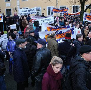 Rīgā notika gājiens par krievu valodas aizstāvību