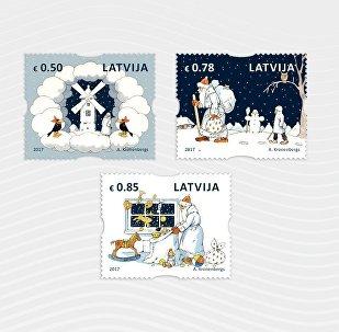Рождественские почтовые марки, созданные иллюстратором Альбертом Кроненбергом