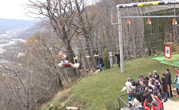 Талисман ЧМ-2018 по футболу волк Забивака прокатился на зиплайне  в Сочи