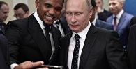Krievijas prezidents V. Putins piedalījās 2018. gada FIFA Pasaules kausa fināla izlozē.