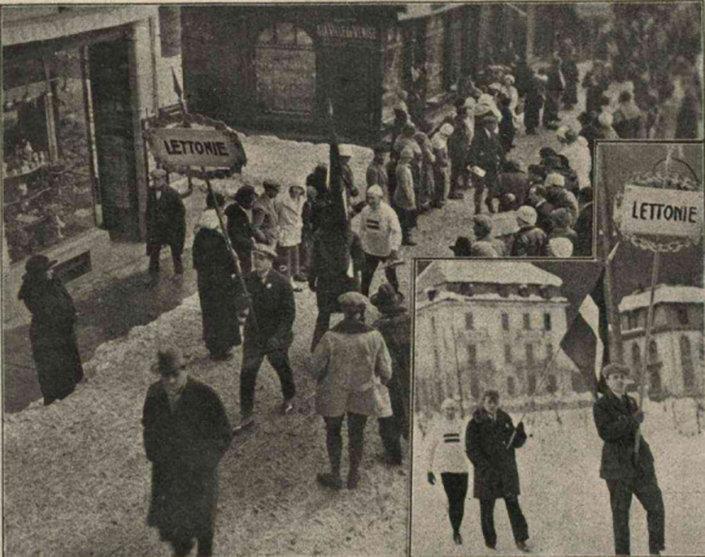 Латвийская делегация на первой зимней Олимпиаде в Шамони, 1924 г. Коллаж журнала Неделя