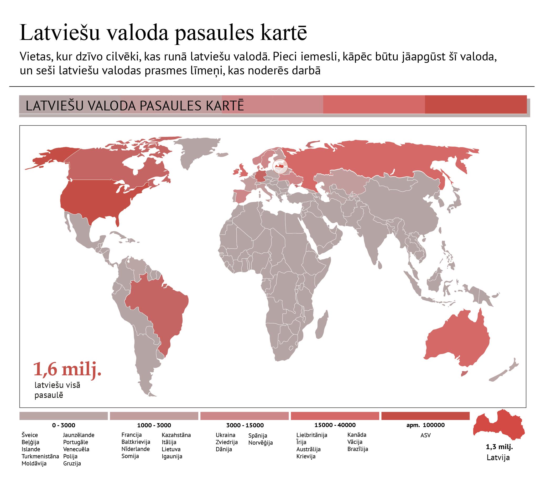 Vietas, kur dzīvo cilvēki, kas runā latviešu valodā. Pieci iemesli, kāpēc būtu jāapgūst šī valoda,  un seši latviešu valodas prasmes līmeņi, kas noderēs darbā