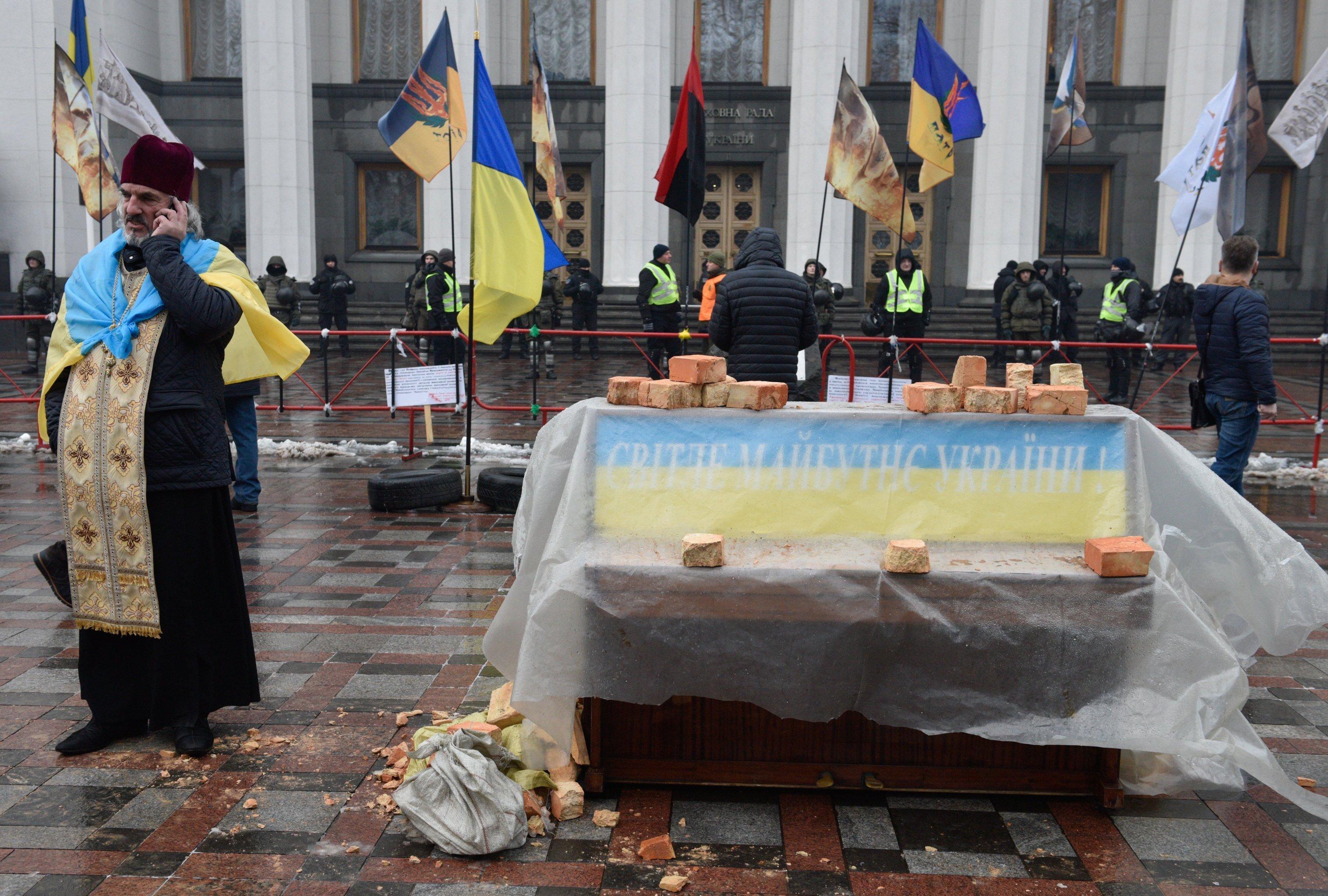 Сторонники Саакашвили разбили палаточный городок в центре Киева