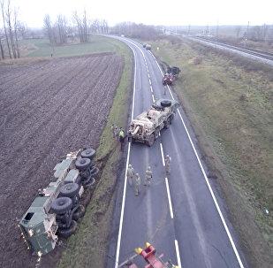 Amerikāņu militārā tehnika iestrēgusi Polijā