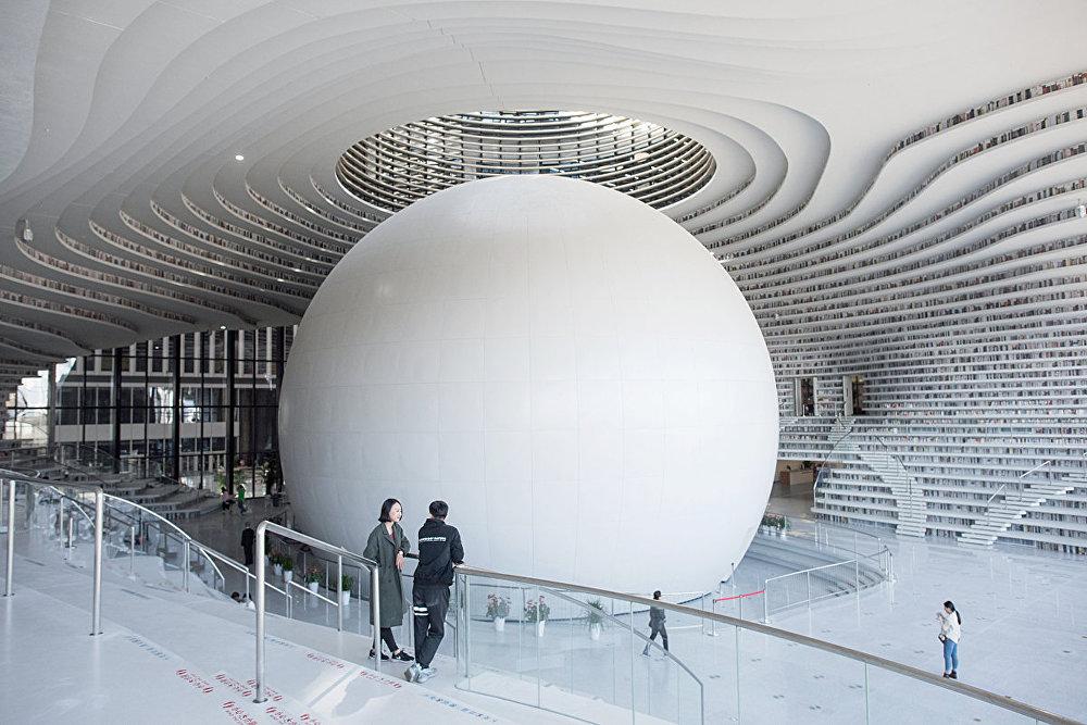 Библиотека в городе Тяньцзинь , Китай
