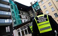 Обрушение здания в центре Риги