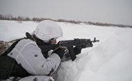 Занятия морских пехотинцев РФ во время зимнего этапа обучения