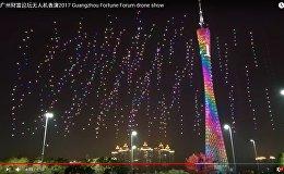 Dronu pulks sarīkojis gaismas šovu debesīs virs Guančžou