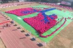 Более 5000 детей сформировали гигантское изображение человеческих легких в Нью-Дели