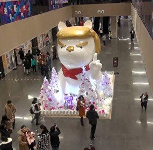 В Китае установили фигуру собаки, похожей на Дональда Трампа