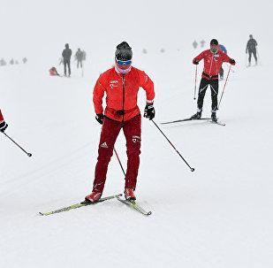 Krievijas izlases slēpotāju treniņš