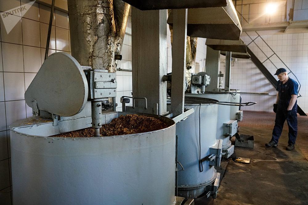 Котлы с ольховой щепкой подают горячий дым в коптильню