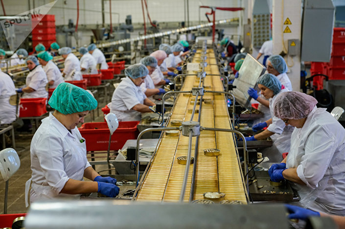 Производство шпрот на предприятии Brīvais vilnis