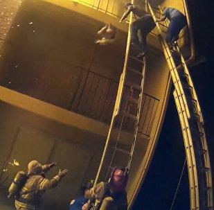 ASV ugunsdzēsējs noķēra meitenīti, kuru nometa no trešā stāva