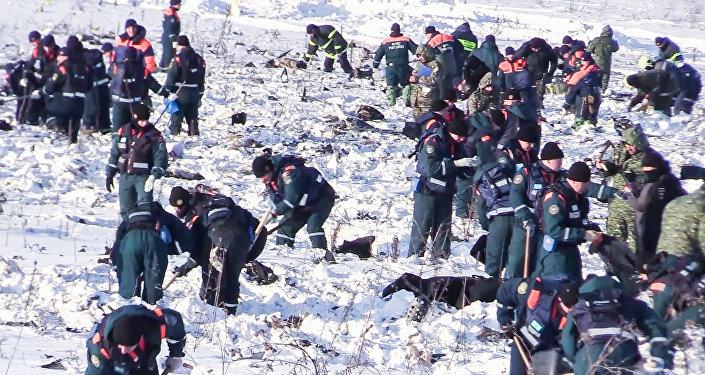 Поисковые работы на месте крушения Ан-148 в Московской области