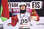Антон Кушнир (Белоруссия), завоевавший золотую медаль на соревнованиях по лыжной акробатике в рамках этапа Кубка мира по фристайлу в Москве.