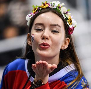 Līdzjutēja no Krievijas daiļslidošanas sacensībās XXIII ziemas Olimpiskajās spēlēs