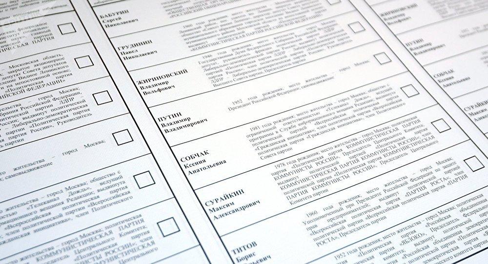 Krievijas prezidenta vēlēšanām paredzētā biļetena paraugs