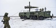 Пуск баллистической ракеты ОТРК Искандер-М с полигона Капустин Яр