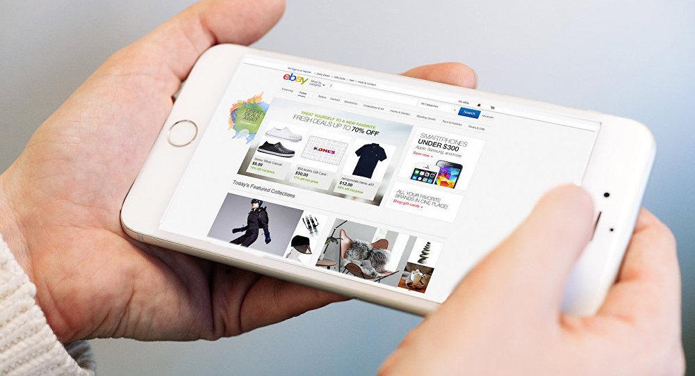 Vietne Ebay tālruņa ekrānā. Foto no arhīva