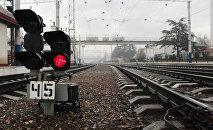 Железнодорожный светофор, архивное фото