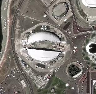 No kosmiskā pavadoņa nofotografēti Krievijas stadioni